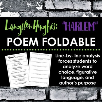 "Langston Hughes ""Harlem"" Poem Foldable - Force students to analyze line-by-line"