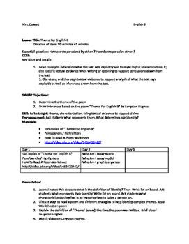 Langston Hughes Lesson Plan and Worksheet