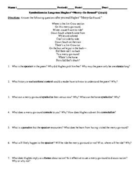 "Langston Hughes' ""Merry-Go-Round"" Poem Study Guide and Multiple Choice Quiz"