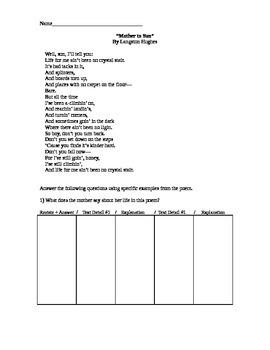 Langston Hughes Mother to Son Short Response Practice Text Details Poem