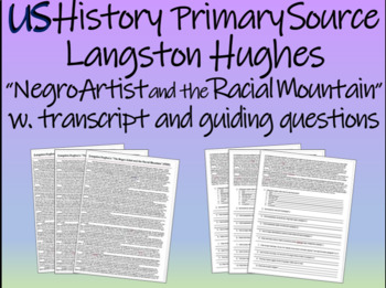"""Langston Hughes """"Negro Artist and the Racial Mountain"""" w text-dependent Qs"""
