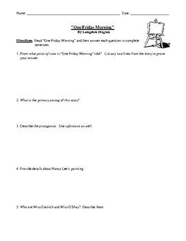 "Langston Hughes' ""One Friday Morning"" Worksheet (or Test) with Answer Key"