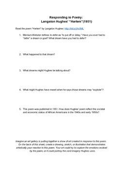 """Langston Hughes' Poem """"Harlem"""" Activity"""