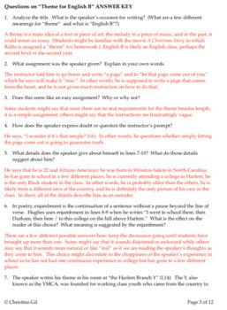 Langston Hughes Poem | Harlem Renaissance | Theme for English B