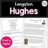 Distance Learning Langston Hughes Poetry and Activities