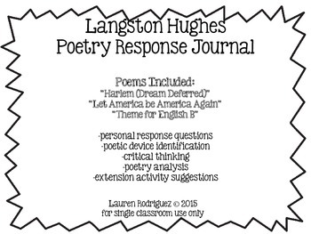 Langston Hughes Poetry Response Journal