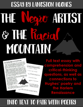 Langston Hughes: The Negro Artist and the Racial Mountain -- Pair w/ poetry