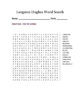 Langston Hughes Word Search