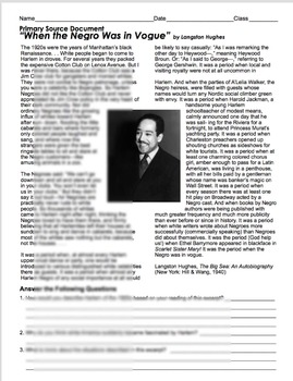 Langston Hughes primary source document analysis