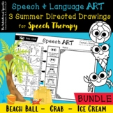 Growing Directed Drawing Bundle for Speech Therapy - Crab, Beach Ball, Ice Cream