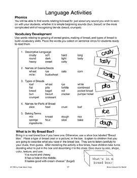Language Activities About Bread