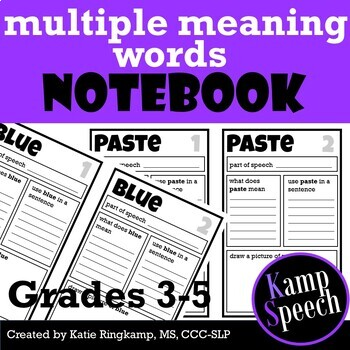 Language Activities: Multiple Meaning Words Notebook Upper Elementary