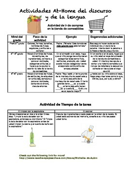 Language Activities for Home- Spanish Version