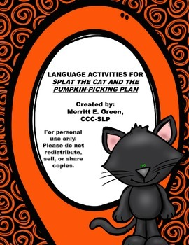 Language Activities for Splat the Cat and the Pumpkin-Picking Plan {FREEBIE}