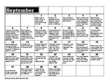 Language Activity Calendar