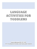 Language Activity Packet for Toddlers