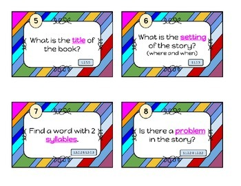 Story elements, rhyming, syllables and more! Task cards/scoot for LA