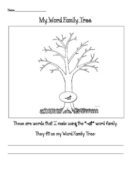Language, Art- Word Family Trees (Bare Tree with Leaves, Snowflakes)