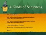 Language Arts  -  4 Kinds of Sentences Power Point Presentation