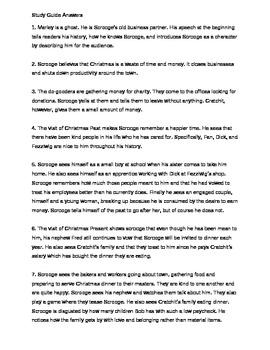 Language Arts A Christmas Carol Study Guide and Test