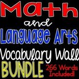 Math and Language Arts Vocabulary Word Wall Bundle