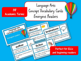 Language Arts (Reading) Academic Vocabulary Cards:  Emergent (ELL Friendly!)