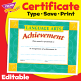 Language Arts Achievement Award Certificate   Editable   Print & Digital