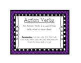 Language Arts Action Verbs Task Cards Center