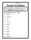 Language Arts Closed Syllables Activity Syllable Type Closed Syllable Worksheets