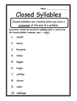 language arts closed syllables activity syllable type closed syllable worksheets. Black Bedroom Furniture Sets. Home Design Ideas
