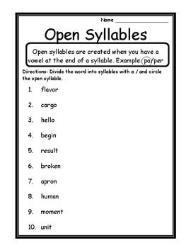 Dividing Syllables Worksheet | Teachers Pay Teachers