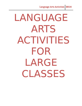 Language Arts Activity Guide for Large Classes