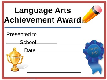Language Arts Award Certificate by Digital Language and ...