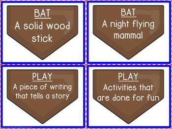 Baseball Dictionary Skills Activities