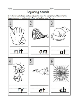 Language Arts: Beginning Sounds