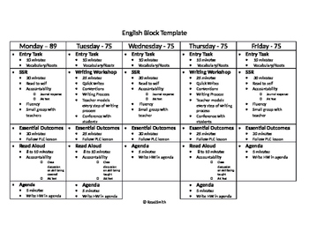 Language Arts Block Template