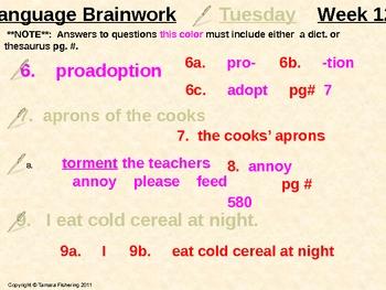 Language Arts Brainwork Activity Slide Presentation Weeks 1 thru 8