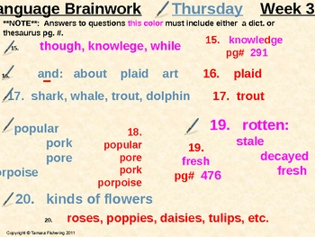 Language Arts Brainwork Activity Slide Presentation Weeks 17 thru 24