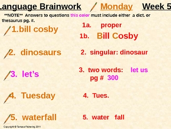 Language Arts Brainwork Activity Slide Presentation Weeks 9 thru 16
