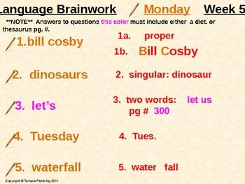 Language Arts Brainwork Activity Slides Complete 32 Week Package