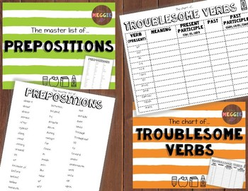 Language Arts Bundle - Prepositions, Contractions, Irregular & Troublesome Verbs