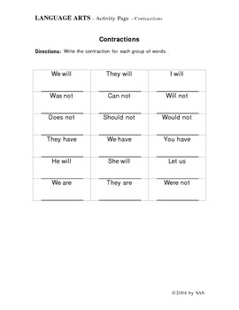 Language Arts: CONTRACTIONS