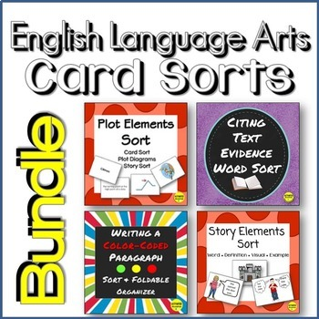 Vocabulary Card Sorts for Text Evidence, Paragraphs, Plot