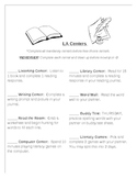 Language Arts Center Checklist for Management