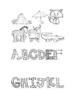 Reading Language Arts Center: Uppercase Alphabet & Animal Picture Matching
