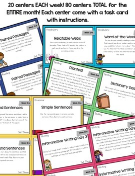 Literacy Centers for 3rd, 4th, 5th, and 6th Grade Set 3