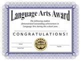 Language Arts Certificate