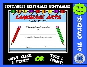 Language Arts Certificate - Editable