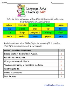 Language Arts Check-Up