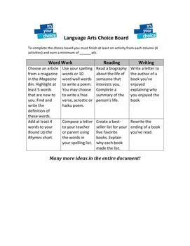 Language Arts Choice Board